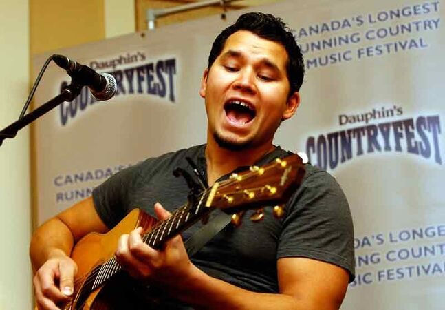 Country singer/songwriter Don Amero sings at a news conference where Dauphin Countryfest announced he was in the lineup for next year's sold-out festival. Headliners include Carrie Underwood , Dierks Bentley and Luke Bryan.
