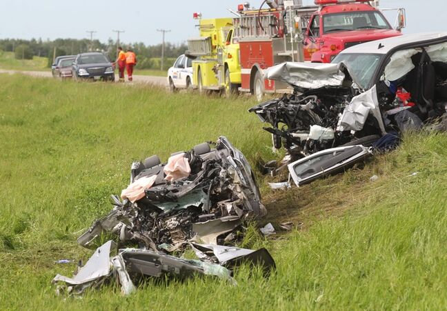 Two people were killed and a third hospitalized after a head-on collision just south of Erickson on Thursday afternoon. Two more collisions on Thursday, elsewhere in Manitoba, killed two others and sent three more people to hospital.