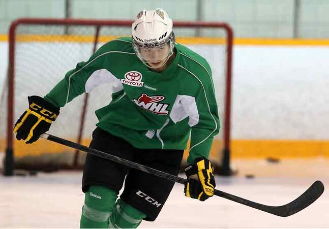 Rookie Wheat Kings centre Tim McGauley — ranked 152nd by Central Scouting — skates in practice Tuesday.