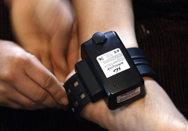 A ankle monitoring device is pictured Dec. 10, 2008 in Laurel, Miss. THE CANADIAN PRESS/AP, Rogelio V. Solis