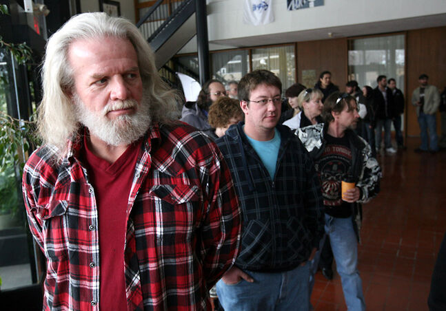 "Jeff Billings drove out from Winnipeg to be an extra in an upcoming horror movie shoot in Brandon. Billings joined a few hundred hopefuls at City Hall for the chance to be in ""Wrong Turn 4""."