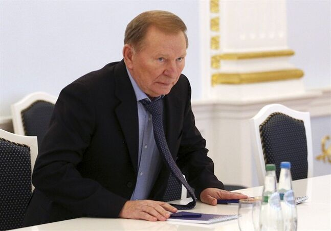 Former Ukrainian president Leonid Kuchma sits during talks in Minsk, Belarus, on Monday, Sept. 1, 2014. A so-called contact group meets for talks in Minsk, the Belarusian capital, to reach agreement on a cease-fire. The group, which last met in late July, includes representatives of Ukraine, Russia and the Organization for Security and Cooperation in Europe. (AP Photo/Dmitry Brushko)