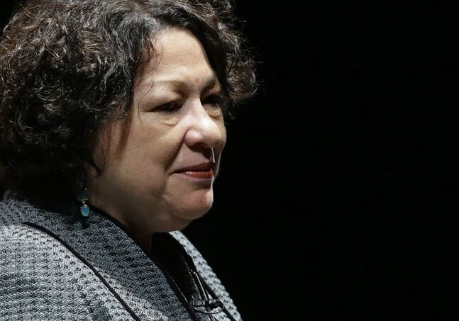 FILE - This Sept. 19, 2013 file photo shows Supreme Court Justice Sonia Sotomayor in Newark, Del. The First Amendment protects public employees from job retaliation when they are called to testify in court about official corruption, the Supreme Court ruled Thursday.The justices decided in favor of former Alabama community College official Edward Lane, with Sotomayor saying Lane's testimony was constitutionally protected because he was speaking as a citizen on a matter of public concern, even if it covered facts he learned at work. (AP Photo/Patrick Semansky, File)