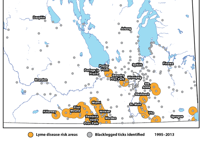 Lyme disease risk areas have been expanded in the province.
