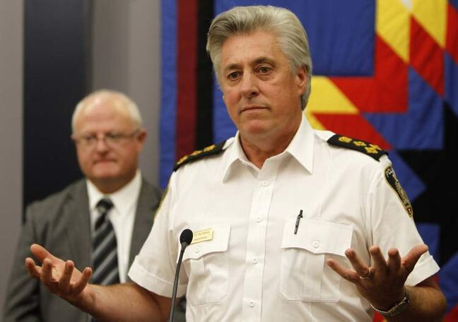Winnipeg Police Chief Keith McCaskill addresses the media regarding the Brian Sinclair investigation at the Public Safety Building as lead investigator Det. Sgt. John O'Donovan looks on, Tuesday.
