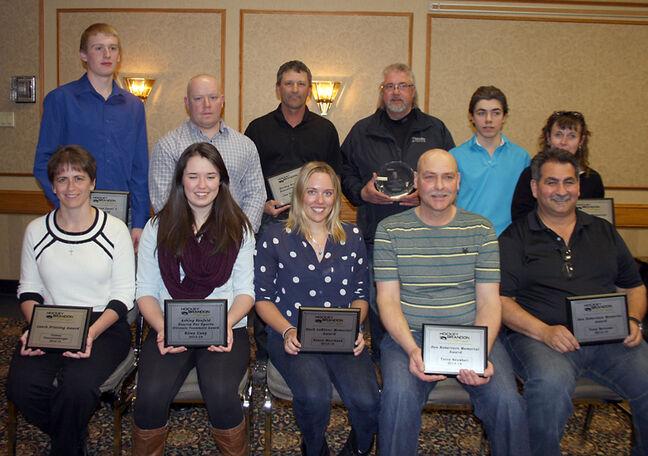 Hockey Brandon award winners. Standing (from left): Andrew Paul, Craig Anderson, Joe Gutenberg, Ken Campbell, Brady Perreault, Melanie Gordon. Sitting (from left): Colleen VanCauwenberghe, Riley Coey, Alison Marchand, Terry Senkbeil, Tony Bertone.