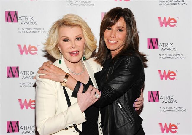 FILE - In this April 22, 2013 file photo, Television personalities Joan Rivers, left, and daughter Melissa Rivers attend the 2013 Matrix New York. Rivers, the raucous, acid-tongued comedian who crashed the male-dominated realm of late-night talk shows and turned Hollywood red carpets into danger zones for badly dressed celebrities, died Thursday, Sept. 4, 2014. She was 81. Rivers was hospitalized Aug. 28, after going into cardiac arrest at a doctor's office. (Photo by Evan Agostini/Invision/AP, file)