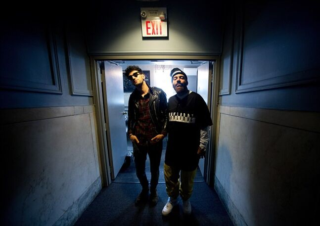 Chromeo band members David Macklovitch, left, and Patrick Gemayel pose for a photograph in Toronto on Friday, May 2, 2014. Montreal duo Chromeo named their new album
