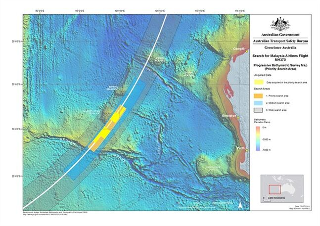 In this map released on July 31, 2014, by the Joint Agency Coordination Centre, details are presented in the search for the missing Malaysia Airlines Flight 370 in the southern Indian Ocean. Australian Transport Minister Warren Truss said on Wednesday, Aug. 6, 2014, that Dutch contractor Fugro Survey Pty. Ltd. will conduct the underwater search for the Malaysian airliner that crashed off the Australian coast in March. (AP Photo/Joint Agency Coordination Centre) EDITORIAL USE ONLY