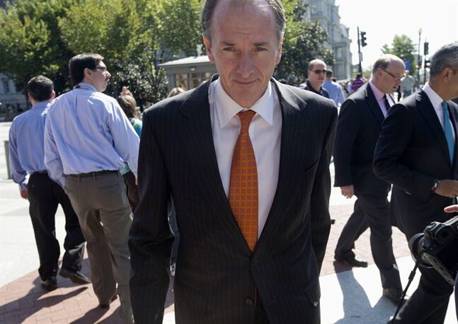 FILE - In this Wednesday, Oct. 2, 2013, file photo, Morgan Stanley Chairman James P. Gorman leaves the White House in Washington. Morgan Stanley reports quarterly financial results before the market opens on Friday, Jan. 17, 2014. (AP Photo/Pablo Martinez Monsivais, File)