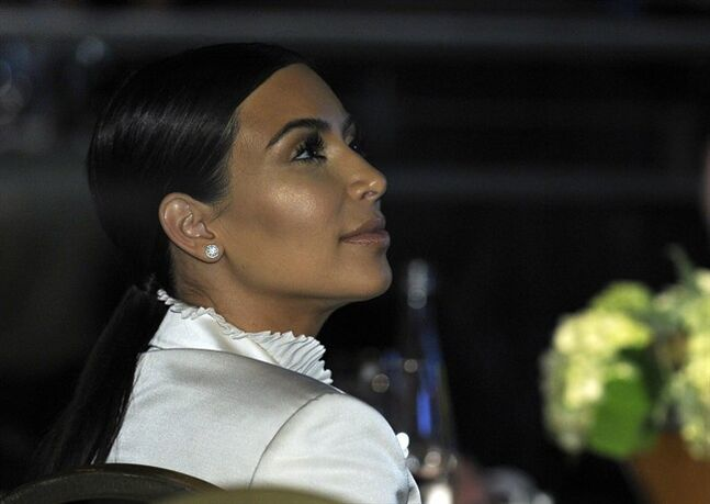 Kim Kardashian attends the USC Shoah Foundation's 20th anniversary Ambassadors for Humanity gala in Los Angeles, Wednesday, May 7, 2014. (AP Photo/Susan Walsh)