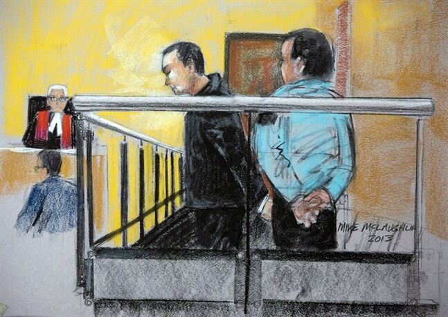 Guy Turcotte is shown in court in acourt artist sketch on November 14, 2013 in St. Jerome, Que. THE CANADIAN PRESS/Mike McLaughlin