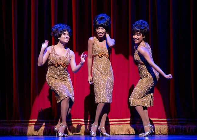 This theater image released by Boneau/Bryan-Brown shows, from left, Sydney Morton as Forence Ballard, Valisia LeKae as Diana Ross and Ariana DeBose as Mary Wilson of The Supremes in