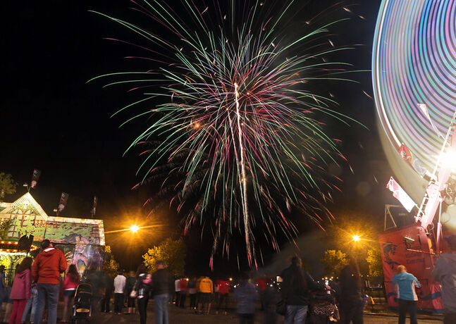Fireworks light up the night sky during the Manitoba Summer Fair at the Keystone Centre last week.