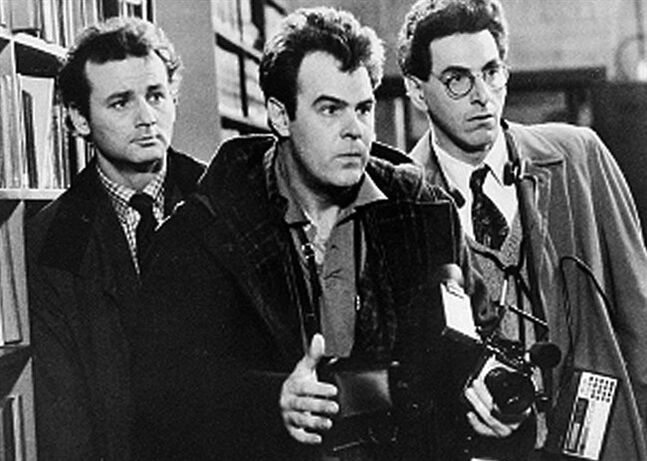 FILE - In an undated file photo, Bill Murray, Dan Aykroyd, center, and Harold Ramis, right, appear in a scene from the 1984 movie