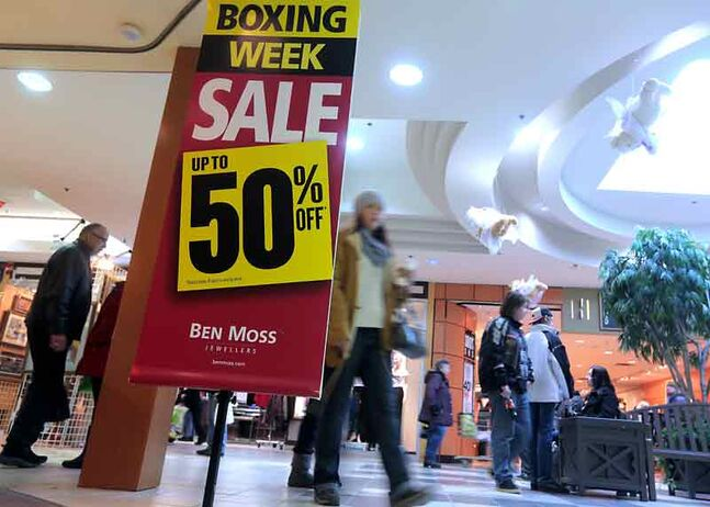 Shoppers Mall was filled with bargain hunters as stores put items on sale during Wednesday's Boxing Day event.