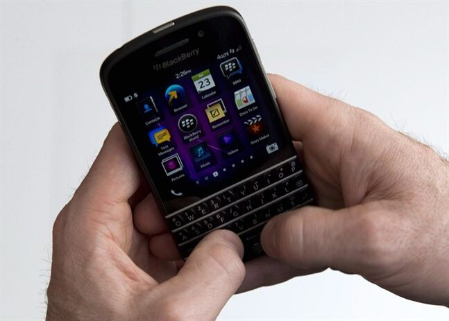 A BlackBerry Q10 smartphone is displayed in Toronto, April 23, 2013. THE CANADIAN PRESS/Graeme Roy