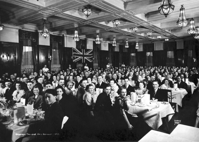 The arts department graduation banquet for Brandon College in 1937, held in the Prince Edward Hotel.