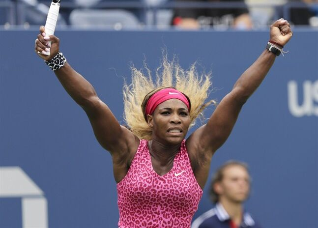 Serena Williams, of the United States, reacts after a point against Kaia Kanepi, of Estonia, during the fourth round of the 2014 U.S. Open tennis tournament, Monday, Sept. 1, 2014, in New York. (AP Photo/Charles Krupa)