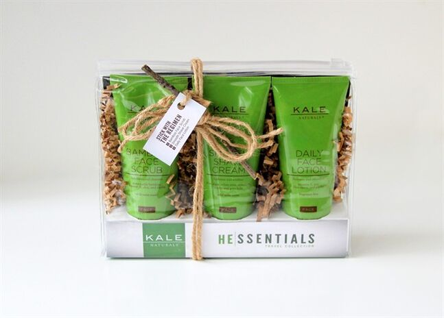 This product image released by Kale Naturals shows a three-pack of skin care products for men. Co-founded by Dana Kale, Kale Naturals does not offer products with kale, but she and her partner hope to jump on that bandwagon soon. (AP Photo/Kale Naturals)