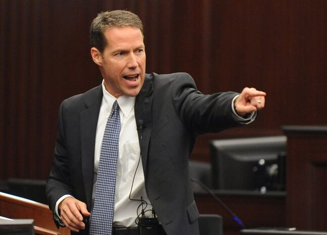 Assistant State Attorney John Guy delivers the rebuttal to the defense closing arguments during the trial of Michael Dunn in Jacksonville, Fla., Wednesday Feb. 12, 2014. Michael Dunn is charged in the shooting death of Jordan Davis in November 2012.(AP Photo/The Florida Times-Union, Bob Mack, Pool)