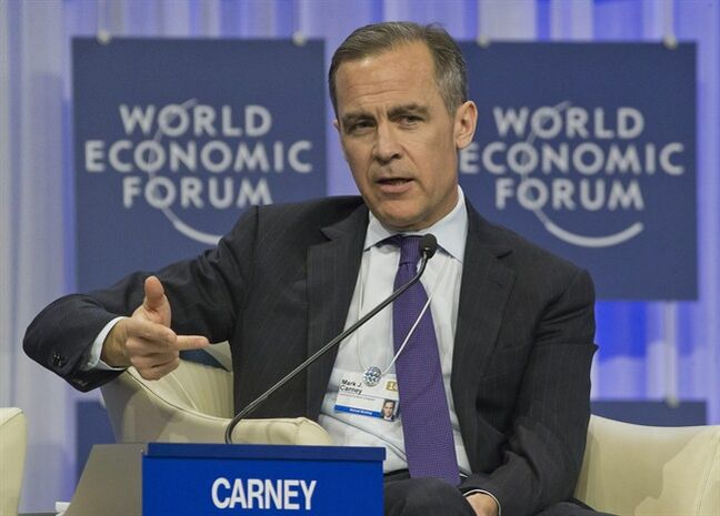 FILE - In this Saturday Jan. 25, 2014 file photo, Governor of the Bank England, Mark J. Carney, gestures as he speaks during a session at the World Economic Forum in Davos, Switzerland. The Bank of England is set to unveil a new policy framework after unemployment in Europe's third-largest economy has fallen far faster than anticipated. Its Canadian governor, Mark Carney, is expected to use the opportunity of the bank's quarterly projections on Wednesday Feb. 12, 2014 to update the guidance on the future path of monetary policy. (AP Photo/Michel Euler, File)