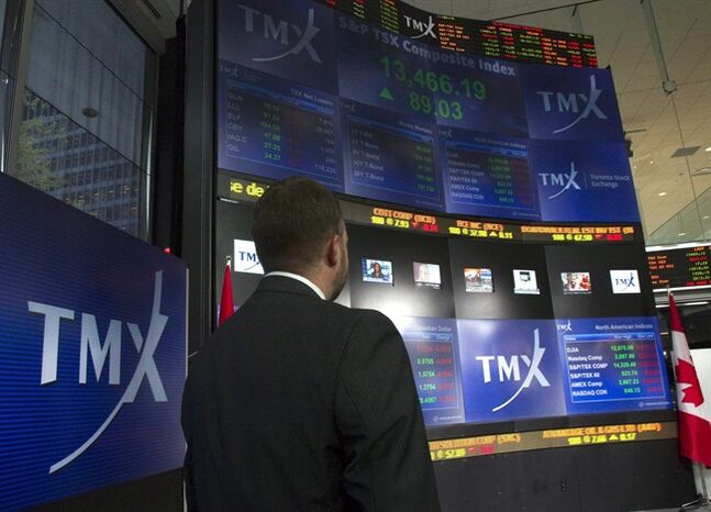 TMX Broadcast Centre's display board is pictured in Toronto on May 16, 2011. THE CANADIAN PRESS/Frank Gunn