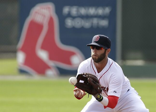 Boston Red Sox second baseman Dustin Pedroia makes a catch during spring training baseball practice, Sunday, Feb. 23, 2014, in Fort Myers, Fla. (AP Photo/Steven Senne)