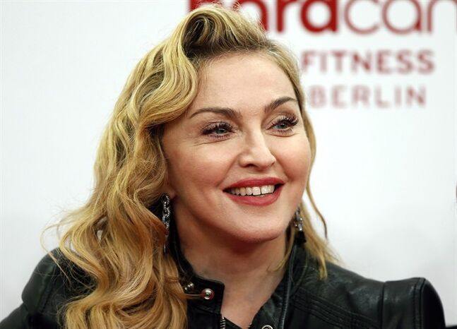 U.S. pop star Madonna smiles during her visit at the