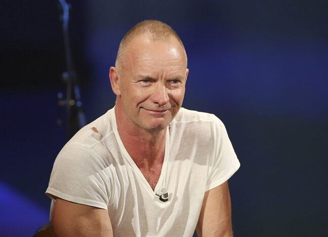 FILE - In this Nov. 10, 2013 file photo, British singer Sting smiles during the Italian State RAI TV program