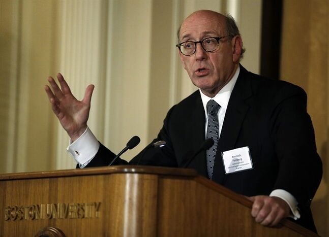 FILE - In this March 24, 2014, file photo, Kenneth Feinberg, administrator of the One Fund Boston Compensation Program, speaks at a forum at Boston University in Boston. Feinberg said there is no limit on the total amount he can pay people harmed in crashes caused by faulty General Motors ignition switches. Feinberg announced the terms of the compensation plan Monday, June 30, 2014, in Washington.(AP Photo/Elise Amendola, File)