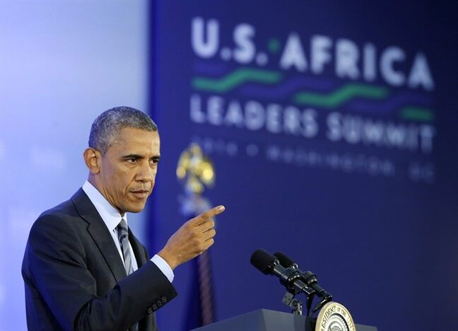 FILE - This Aug. 6, 2014, file photo shows President Barack Obama as he takes a question at a news conference at the end of the U.S. Africa Leaders Summit at the State Department in Washington. Obama directed $10 million in emergency Pentagon spending to help France fight terrorists in northwest Africa. (AP Photo/Charles Dharapak, File)