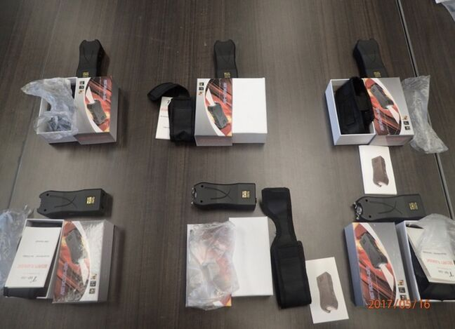 Twelve stun guns were recently intercepted by police and border authorities. A 51-year-old Brandon man has been arrested for possession of prohibited weapons.