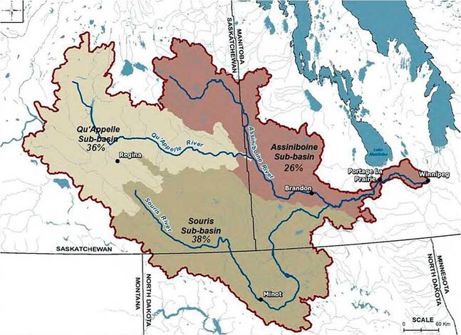 A map of the Assiniboine River Basin and its sub-basins.
