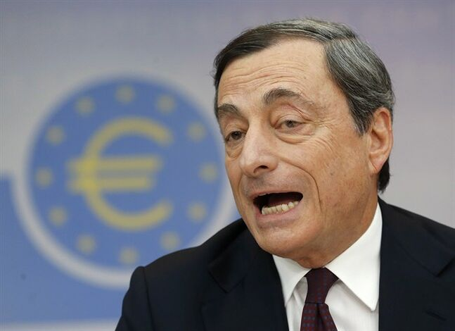 President of European Central Bank Mario Draghi speaks in Frankfurt, on July 3, 2014. THE CANADIAN PRESS/AP, Michael Probst