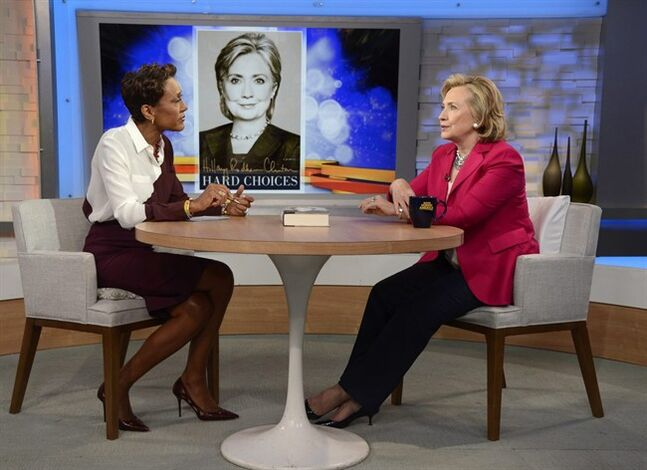 In this photo provided by the American Broadcasting Companies, Inc., former Secretary of State Hillary Rodham Clinton, right, discusses her new memoir,