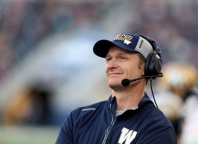 Winnipeg Blue Bombers' head coach Mike O'Shea during the first half of preseason CFL football action against the Toronto Argonauts' at Investors Group Field in Winnipeg, June 9, 2014. The loss of offensive lineman Chris Greaves is just one of the injuries forcing the Winnipeg Blue Bombers to make lineup changes for Friday night's game against the Montreal Alouettes. THE CANADIAN PRESS/Trevor Hagan