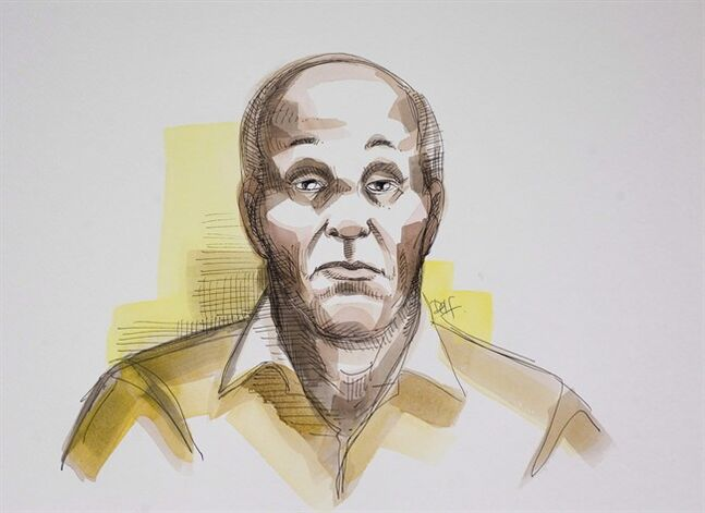 An artist's sketch shows Moussa Sidimé in Longueuil, Que., October 12, 2010. THE CANADIAN PRESS/Delphine Bergeron