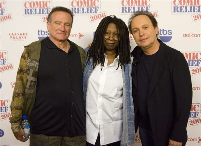 FILE - This Nov. 18, 2006 file photo shows comedians Robin Williams, from left, Whoopi Goldberg and Billy Crystal posing after hoasting