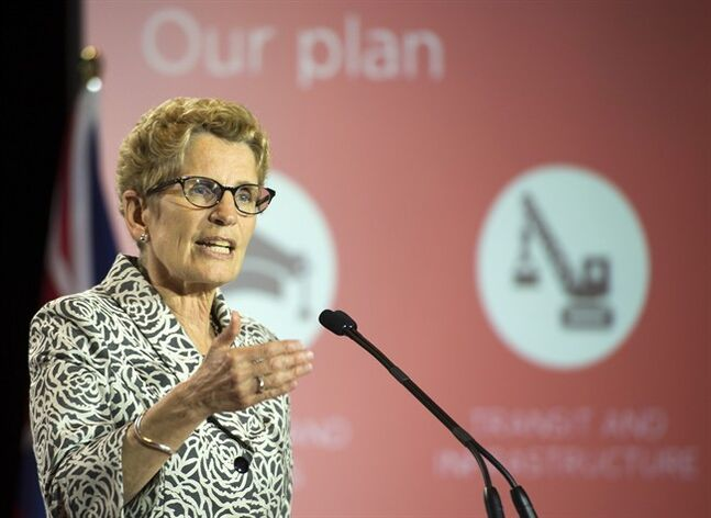 Ontario Liberal leader Kathleen Wynne releases the party platform in Thunder Bay, Ontario on Sunday May 25, 2014. THE CANADIAN PRESS/Frank Gunn