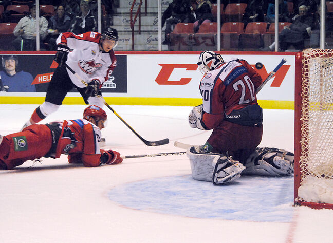 Team Russia goalie Andrey Makarov makes a save on Brandon Wheat Kings left-winger Michael Ferland, playing for Team WHL, during 2011 Subway Super Series action at Mosaic Place in Moose Jaw, Sask. Brandon will host a Super Series game on Nov. 11.