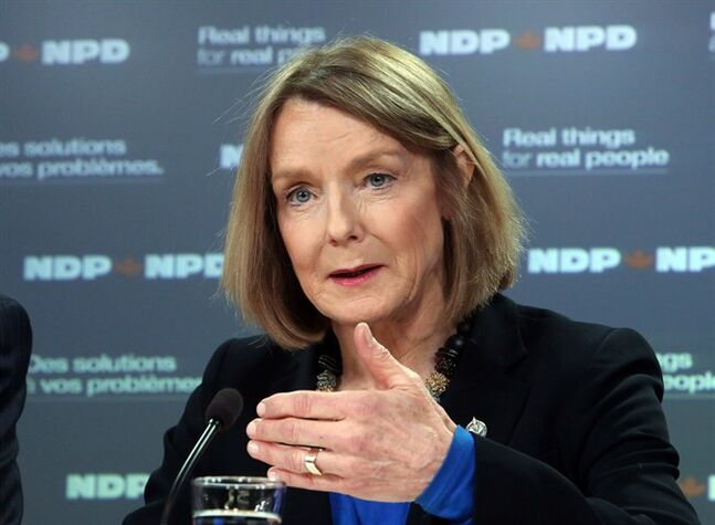 NDP finance critic Peggy Nash holds a news conference in Ottawa, Monday March 18, 2013. The New Democrats say the governing Conservatives' rush to balance the books could delay the economic recovery from the recession. THE CANADIAN PRESS/ Fred Chartrand