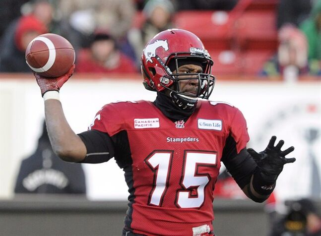 Calgary Stampeders' quarterback Kevin Glenn throws a pass against the Saskatchewan Roughriders during CFL Western Final first half action in Calgary, Alta., Sunday November 17, 2013. The Stampeders have lost Glenn to the Ottawa Redblacks in the first round of the CFL expansion draft. THE CANADIAN PRESS/Larry MacDougal