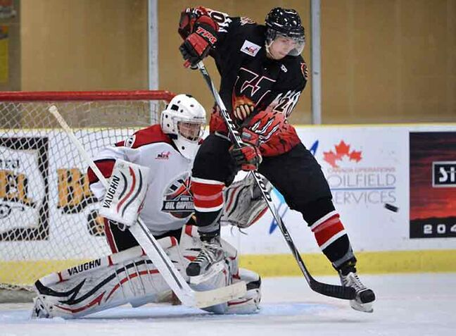 Virden Oil Capitals goaltender Ty Edmonds makes a stop during a recent MJHL game at Tundra Oil and Gas Place. The Oil Capitals have found success on and off the ice in Virden this season.