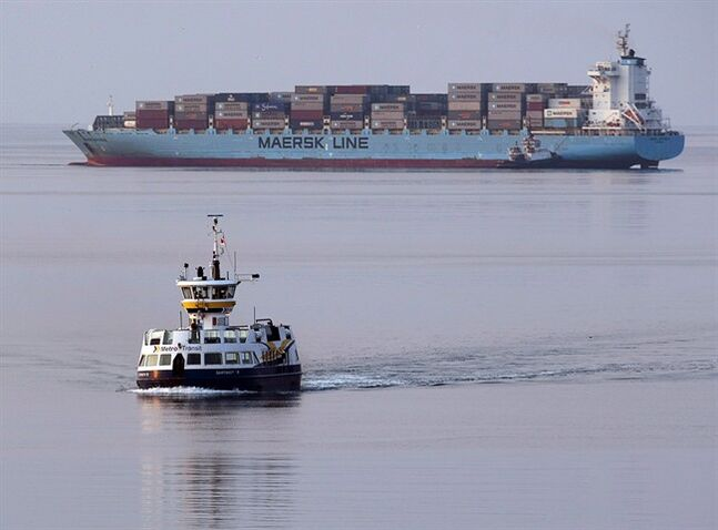 The container ship Maersk Jefferson arrives in Halifax on August 18, 2012. THE CANADIAN PRESS/Andrew Vaughan