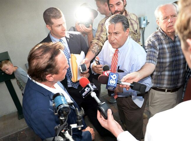 Seventies heartthob David Cassidy faces the media as he leaves town court in Schodack, N.Y., on Wednesday, Sept. 3, 2014. Cassidy pleaded guilty to a misdemeanor charge of driving while intoxicated in upstate New York. (AP Photo/The Daily Gazette, Patrick Dodson) TROY, SCHENECTADY; SARATOGA SPRINGS; ALBANY AND AMSTERDAM OUT