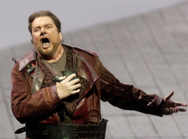 Ben Heppner performs as Tristan in the opera