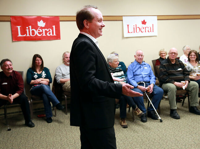 Former Brandon-Souris byelection Liberal candidate Rolf Dinsdale speaks to supporters at the Riverbank Discovery Centre during a volunteer appreciation event on Saturday afternoon. Dinsdale said he plans to place his name on the nomination ballot for the 2015 general election.