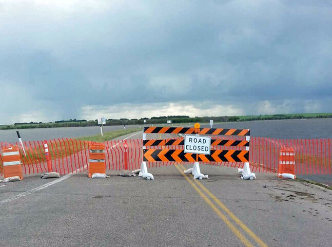 Floodwaters have closed a section of Highway 21 near Sioux Valley Dakota Nation. Area residents are advised to enter the community through Rivers.