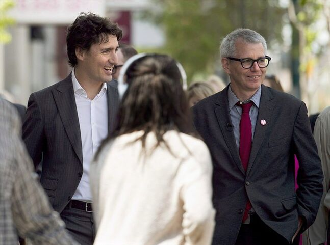 Federal Liberal leader Justin Trudeau, left, and Trinity-Spadina candidate Adam Vaughan, are pictured in Toronto on May 22, 2014. New Democrats are trying to make pipelines an issue in downtown Toronto, where their bid to hang onto the riding of Trinity-Spadina faces a stiff challenge from the Liberals. THE CANADIAN PRESS/Nathan Denette